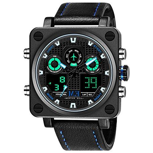 Menton Ezil Quadratische Multifunktions Herren-Armbanduhr Chronograph mit Lederarmband und Dornschließe hochwertige Analog-Quarzuhr Datumsanzeige LED-Hintergrundbeleuchtung 50M Wasserdichtes