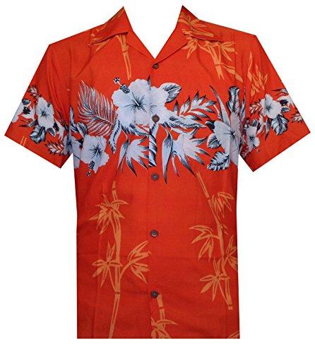 Hawaiian Shirts Herren Bambus Baum Print Strand Aloha Party Urlaub Gr. Large, Orange (Hawaiian Shirt Bahama)