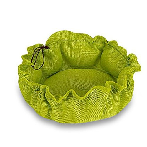 iHOY Multifunktionale Haustier Bett Doppel Zweck Kleine Hund Katze Kissen Atmungsaktives Mesh Haustier Katze Bett Pad Kissen Faltbare Pet Bett für Kleine Tiere Size L (Grün) (Kompakte Doppel-heizung)