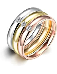 HMILYDYK Anillo de oro Plain acero inoxidable Cubic zriconia CZ 3 Pcs un conjunto de boda