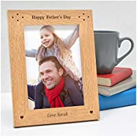 "Happy Fathers Day ENGRAVED Personalised Photo Frame Dad Daddy Grandad Gifts - 1st First Fathers Day Gifts Presents - Step Dad Gramps Grampa ANY RECIPIENT - 5"" x 7"" and 6"" x 4"" Engraved Photo Frames"