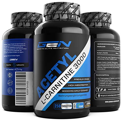 Acetyl L-Carnitin 3000-250 Tabletten - 3000 mg pro Tagesportion - Extra Stark - 100% Acetyl L-Carnitine - Starke L-Carnitine Form - Laborgeprüfte Qualität - Vegan - German Elite Nutrition -