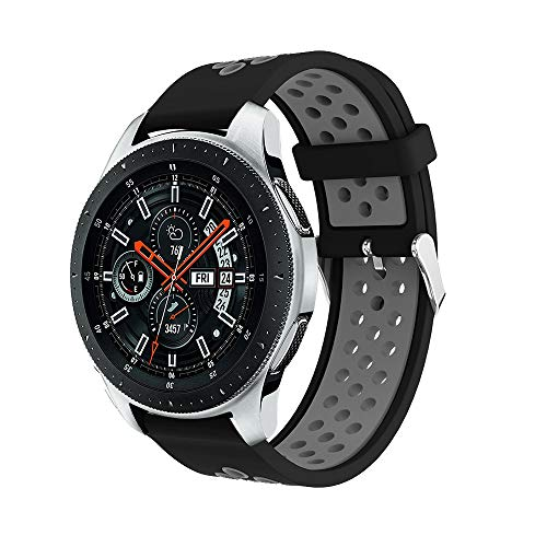 BZLine Armband, Dual Colour Sport Silicone Watch Strap, for Samsung Galaxy Watch, 42 mm 46 mm, Quick Release, Wrist Size: Approx. 130-200mm , Adult (Unisex), c, 42 mm