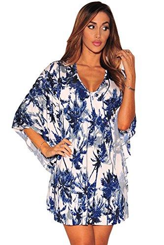 Nuovo da donna stampa tropicale Kimono Maniche Dress Club estivo abbigliamento casual partito Dance Wear taglia L UK 12-14, EU 40-42