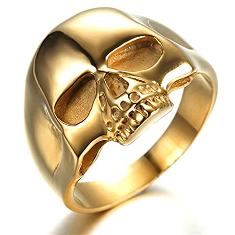 Stainless Steel Ring for Men, Skull Ring Gothic Gold 22MM Size X 1/2 Epinki