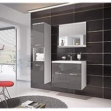 Badezimmer Badmöbel Set Montreal 60 Cm Waschbecken Hochglanz Grau Fronten    Unterschrank Hochschrank Waschtisch Möbel