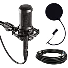 Audio-Technica Large Diaphragm Studio Condenser Microphone Bundle with Shock Mount, Pop Filter and XLR Cable (AT2035 )