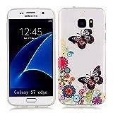 KSHOP Case Cover TPU Silikon Hülle für Samsung Galaxy S7 Taschen Schale Schutzhülle Etui dünn kratzfeste stoßdämpfende - Garten Schmetterling