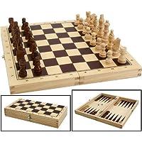 Schach-Dame-Backgammonspiel-aus-Holz-in-der-Klappbox Schach, Dame, Backgammonspiel aus Holz in der Klappbox -