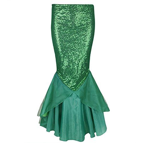 dPois Damen Rock Bodenlang Maxirock Pailletten Kleid Party Kleid Meerjungfrau Kostüm Fischschuppen Kleid für Halloween Karneval Weihnachten Party Cosplay Grün XL