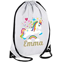 39ef67e926 44th Street Ltd Personalised Unicorn Drawstring PE Sports Swimming Gym Bag  - Design 3