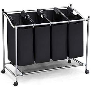 oxid7 panier linge pliable avec 3 compartiments de tri cuisine maison. Black Bedroom Furniture Sets. Home Design Ideas