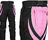 Turin - Damen Motorradhose mit Protektoren - wasserdicht - schwarz & rosa - Größe 42 normale Größe - W34 L30