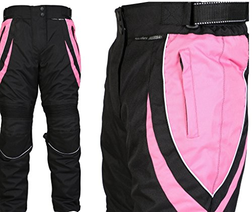 Turin - Damen Motorradhose mit Protektoren - wasserdicht - schwarz & rosa - Größe 48 große Größe - W40 L32