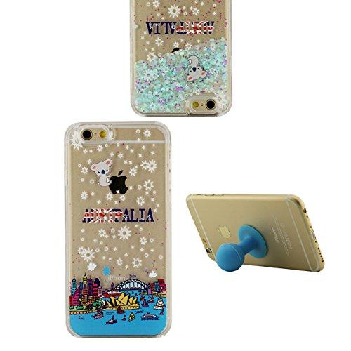 iPhone 6S Plus Coque, London Motif Flowable Cœur Liquide Eau Conception Clair Transparent Rigid Housse Case Pour Apple iPhone 6 Plus / 6S Plus 5.5 inch + Silicone Titulaire color-3