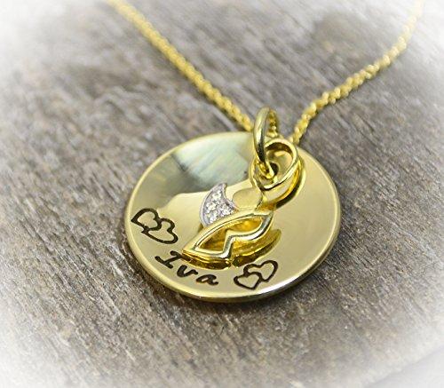 Goldanhänger Engel Gravur personalisierbar 333 Gelbgoldkette Taufkette