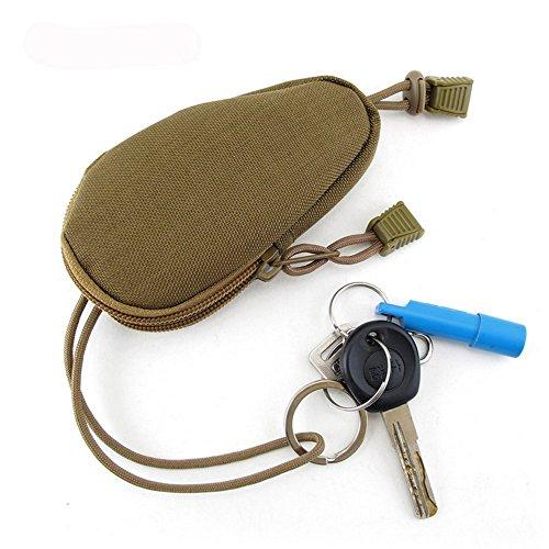 MojiDecor Nylon Mini Outdoor Schlüsseltasche Tragetasche Wasserdichte tragbare Reise Münzen Geldbeutel Schlüsselmäppchen Fernbedienungetui Schlüsseletui mit Innen Edelstahl-Schlüsselring (Braun) (Mini-nylon-rucksack)