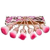 NEEDOON 6 Stück Make Up Pinselet Rose Kosmetik Schminkpinsel Gesicht Pinsel Set mit Tasche