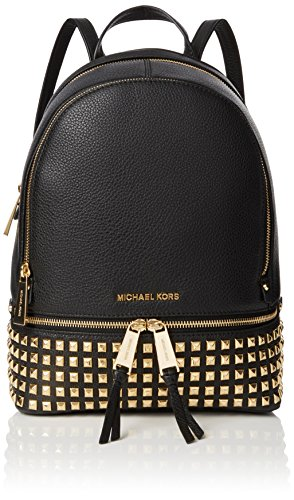 Michael Kors Rhea Zip, Bolso Mochila para Mujer, Negro (Black), 13x30x26 Centimeters (W x H x L)