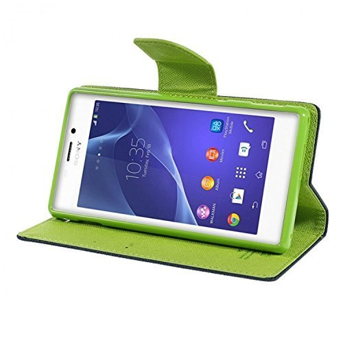 CHL Imported Mercury Fancy Wallet Dairy Flip Case Cover for Vivo Y28-Blue-Green