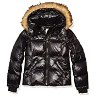 S13 Girls' Faux Fur Mogul Down Puffer, JET, 12