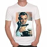 Bond James Bond 007 Sean Connery Herren T-shirt - Weiß, L, t shirt herren,Geschenk
