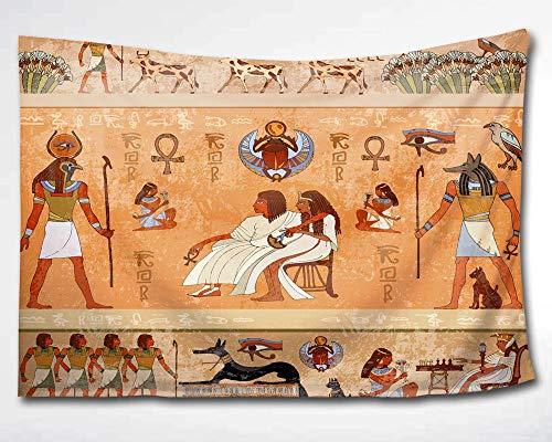 ndteppich Wandbehang,antikes afrikanisches Ägyptisches König und Königin Anubis Tapisserie Pharao Mummy Collage Schlafsaal Strand Wanddeko,152,4 x 228,6 cm,Retro-Orange,60x40(in) ()