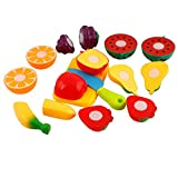 Rvold Fruits & Vegetables Realistic Sliceable Fruits and Vegetables Cutting Play Toy Set, Multi Color
