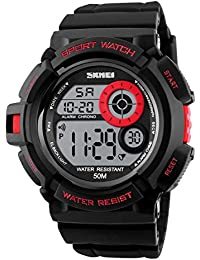 Skmei Special Digital Display Sport 5ATM Waterproof Stainless Steel Back Watch For Men & Women -1222 Red