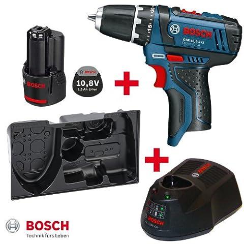 Bosch Akku-Bohrschrauber GSR 10,8-2-Li mit Akku 10,8V 1,3AH und Ladegerät AL1130CV + L-Boxx Einlage 2608438014 für Gr. 1
