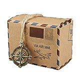 yueyang 50PCS Retro Post Mail Stile Rustico Caramelle scatole Regalo Fai da Te Creativo Kraft Candy Box Confetti,
