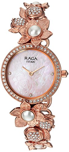 Titan Women's 'Raga Aurora' Quartz Stainless Steel and Brass Casual Watch, Color Rose Gold-Toned (Model: 95043WM01)