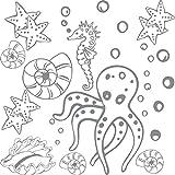 GRAZDesign 770060_57_074 Wandtattoo Badezimmer Meer Seepferdchen Muscheln | maritimes SET Bad-Tattoo für Fliesen - Wände - Tür (57x57cm//074 mittelgrau)
