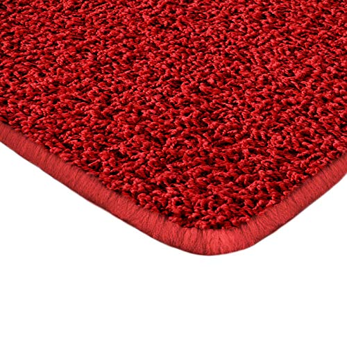 Floori Shaggy Hochflor Teppich - 200x290cm - moderner Wohnzimmerteppich - rot -