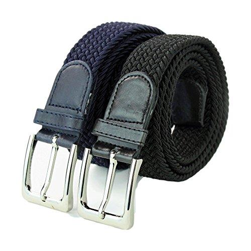 7eeeb0e77c2260 Komfortabel Elastische Geflochtener Stretch Gürtel - Stretchbelt -  Stoffgürtel - Flecht mit pu Leder