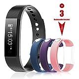 WiMiUS Montre Connectée, Bracelet Connecté Etanche Smartwatch Sport Fitness Tracker d'Activité Podometre Avec4 Coloris de Bracelet de Rechange de...