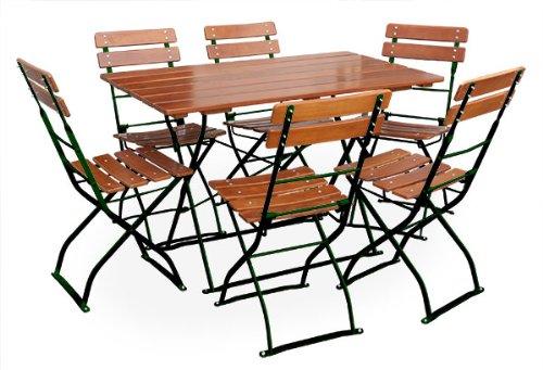 Biergartengarnitur 1x Tisch 120x70 cm & 6x Stuhl EuroLiving Edition Classic ocker/grün