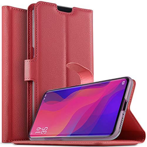 KuGi OPPO Find X Hülle, OPPO Find X Wallet Case, Brieftasche Case Hülle PU Kunstleder Flip Case mit Standfunktion Kartenfächer und Bargeld für OPPO Find X smartphone.Rot