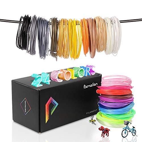 A Filament 24 Farben, 1,75 mm 3D Drucker Filament 24 Packs, 287M, PLA Filament Geschenke für Kinder mit eBook ()
