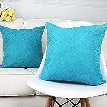 Top finel pack 2 Hogar Algodón Lino Decorativa Almohadas Fundas de color sólido Para Sala de Estar sofás 45X45cm azul turquesa