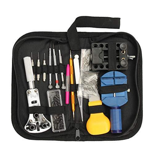 Preisvergleich Produktbild OUNONA 144 Stück Uhr Repair Tool Kit Set Professionelle Spring Bar Tool Set Uhr Link Pin Tool Back Opener Remover Uhr Wartung Kits mit Öl Füllfederhalter und Tragetasche
