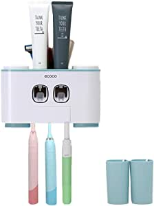 blau schmutzfrei Wandkleber Large Gika R Mehrzweck-Badezimmer-Organizer mit Zahnb/ürstenhalter und Doppel-Zahnpasta-Spender
