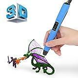 Penna Stampa 3D | 2017 Upgrade | Blusmart Intelligent 3D Pen Display LED con Supporto perla Penna e filamenti per la creazione e la pittura Doodling, Grande regalo per i capretti/Pittura Lovers (Blu)