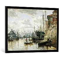"""Quadro con cornice: Valentin Ruths """"The Log Cabin at Hamburg Harbour, 1848"""" - stampa artistica decorativa, cornice di alta qualità, 100x70 cm, nero / angolo grigio"""