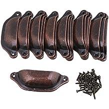 BQLZR 97x 32mm hierro rojo bronce Vintage pomo en forma de carcasa Home decorativo armario muebles aparador mango armario cajón paquete de 20