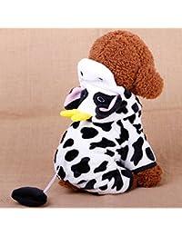 Hemore - Abrigo para Perro de Terciopelo Coral Muy cálido para Cosplay Leche de Vaca para Perro con Capucha y…