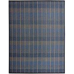 Hogar y Mas Alfombra de salón o Comedor Azul de bambú Natural de 140x180 cm