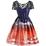 Luckycat Damen Weihnachtsdruck Spitze Pin Up Swing Lace Party Panel Kleid Abendkleider Cocktailkleid Partykleider Blusenkleid Mode 2018
