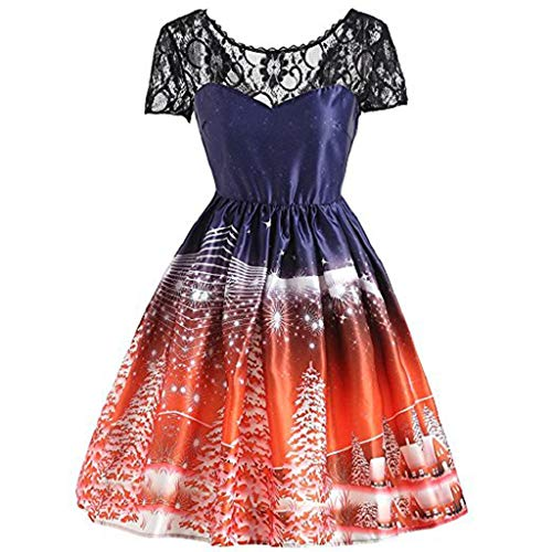 achtsdruck Spitze Pin Up Swing Lace Party Panel Kleid Abendkleider Cocktailkleid Partykleider Blusenkleid Mode 2018 ()