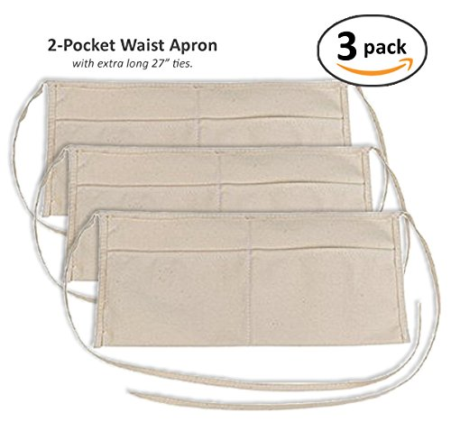 Zwei Pocket Leinwand (2Pocket Taille Schürze (Multipack), baumwolle, Tan, Neutral, 3 Stück)